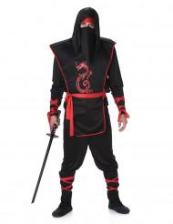 Zwart ninja pak met rode draak voor mannen