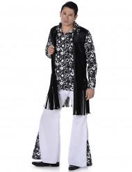 Zwart en wit hippie kostuum voor mannen