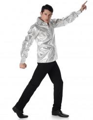 Zilverkleurig disco shirt voor volwassenen