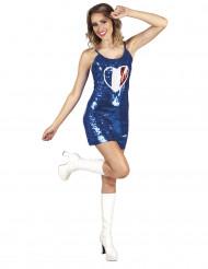 Blauwe jurk met driekleurig Frans hart voor vrouwen