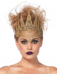 Goudkleurige boze koningin kroon voor vrouwen