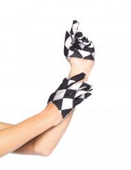 Mini zwart-wit handschoenen voor volwassenen