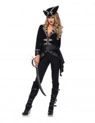Premium zwart piraten kostuum voor vrouwen