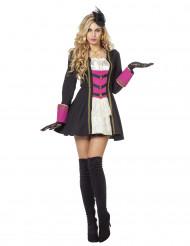 Zwart, wit en roze piraten kostuum voor vrouwen