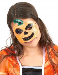 Lovertjes pompoen masker voor kinderen