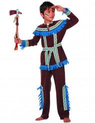 Indianenkostuum met blauwe franjes voor jongens
