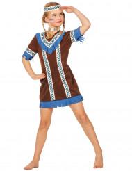 Indianenkostuum met blauwe franjes voor meisjes
