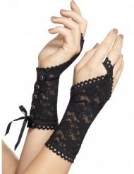 Zwarte kanten handschoenen voor vrouwen