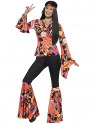 Zwart en veelkleurig hippie kostuum voor vrouwen