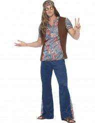 Blauw hippie peace kostuum voor mannen