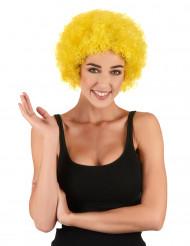 Gele afro clownspruik voor volwassenen
