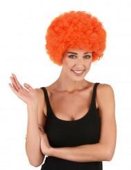 Oranje afro clownspruik voor volwassenen