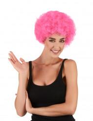 Roze afro clownspruik voor volwassenen