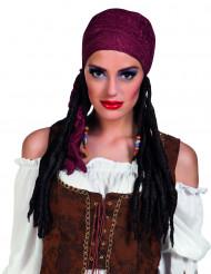 Rode piratenpruik met bandana voor vrouwen
