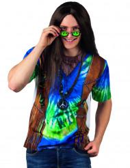 Blauwe hippie fopshirt voor volwassenen