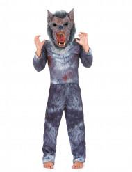 Eng grijs weerwolf kostuum met masker voor kinderen