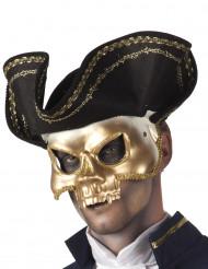 Gouden masker met piratenhoed voor volwassenen