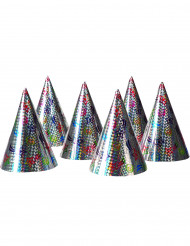6 Holografische feesthoedjes