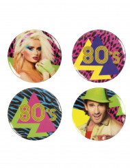4 80's Party buttons