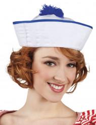Witte matrozenhoed met blauwe pompon voor vrouwen