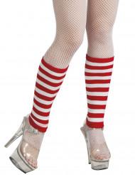 Rood en wit gestreepte beenwarmers voor volwassenen