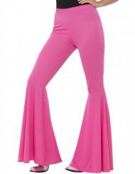 Roze discobroek met wijde pijpen voor vrouwen