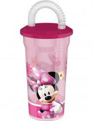Roze plastic Minnie™ drinkbeker met rietje