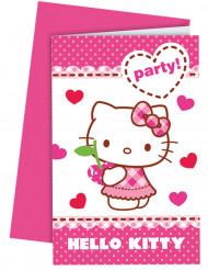 6 Hello Kitty™ uitnodigingen met enveloppen