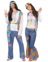 Kleurrijk hippie koppelkostuum voor volwassenen