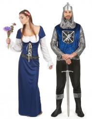 Blauw middeleeuws koppelkostuum