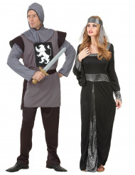 Grijs en zwart middeleeuws koppelkostuum voor volwassenen