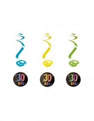 Set 4 spiraal decoraties 30 jaar