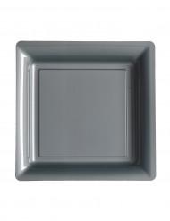 12 kleine zilverkleurig grijze bordjes