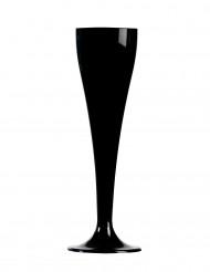 8 zwarte plastic champagne glaasjes