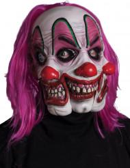 Clown masker met 3 gezichten voor volwassenen