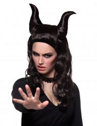 Demonische pruik met hoorns voor vrouwen