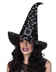 Zilverkleurige sterren heksenhoed voor vrouwen