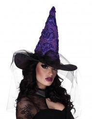 Zwarte en paarse heksenhoed voor vrouwen