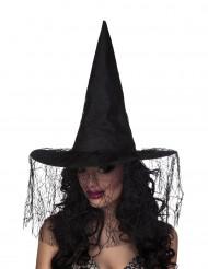 Zwarte heksenhoed met spinnen sluier voor vrouwen