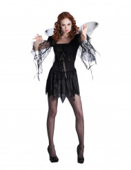 Zwarte engel kostuum met vleugels voor dames
