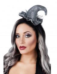 Zilverkleurige mini heksenhoed voor vrouwen