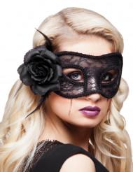 Zwart kanten masker met roos voor vrouwen