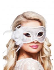 Wit kanten masker met roos voor vrouwen