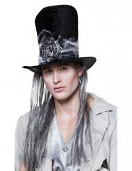 Skelet hoge hoed met haren voor volwassenen