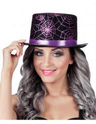 Paarse spinnenweb hoge hoed voor volwassenen