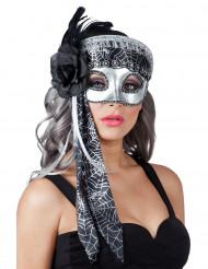 Grijs spinnenweb masker voor vrouwen