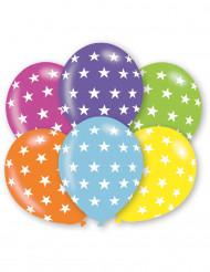 6 veelkleurige sterren ballonnen
