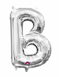 Zilverkleurige letter B ballon