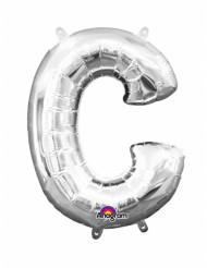 Zilverkleurige letter C ballon