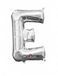 Zilverkleurige letter E ballon